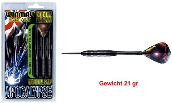 Steeldart APOCALYPSE, 21 gr , Messingbarrel schwarz beschichtet