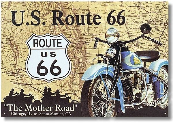 """Blechschild Route 66 """"The Mother Road"""""""