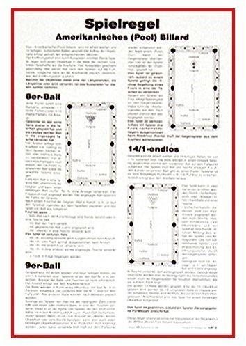 Spielregel - POOL, Poster aus Karton mit Aufhängung