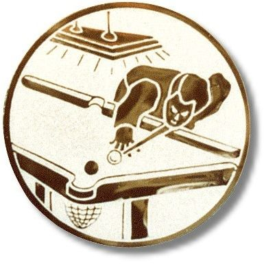 Billard-Emblem, Farbe SILBER, Durchmesser 50 mm,