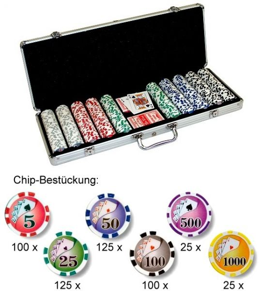 "Pokerchips ""Royal Flush""als Set mit Chips 500"
