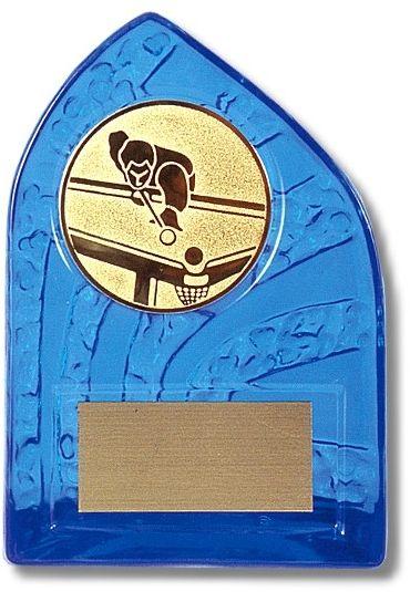 """Ständer """"Blau / Plexi"""", Höhe 13 cm, inklusive Gravurschild, OHNE EMBLEM"""