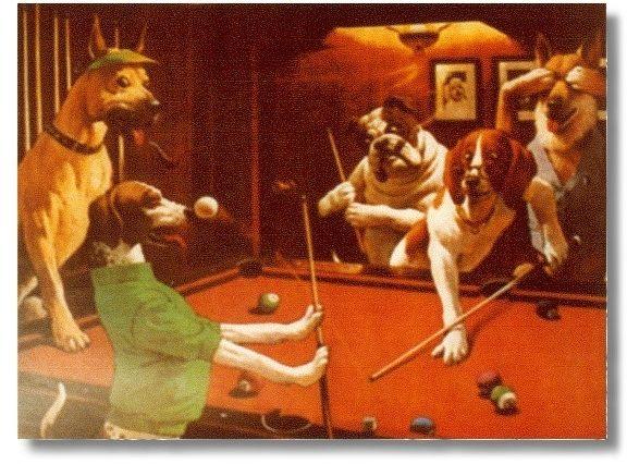 """Billardposter """"Scratching Beagle"""" Größe 51x39 cm"""