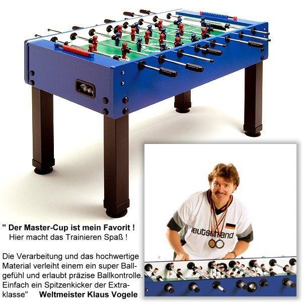Fußballkicker MASTER-CUP, mit modernem blauen Dekor