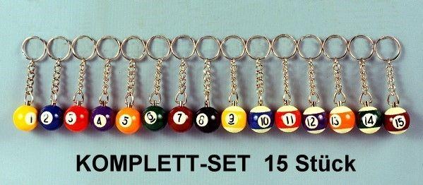 Schlüsselanhänger 25mm, Komplett-Set 15 Stück
