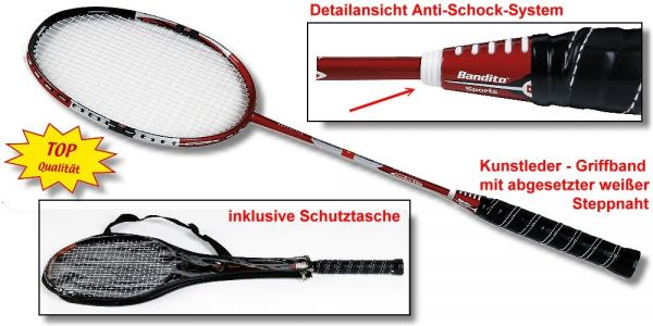 "Badmintonschläger Bandito ""Profi"" rot/schwarz"