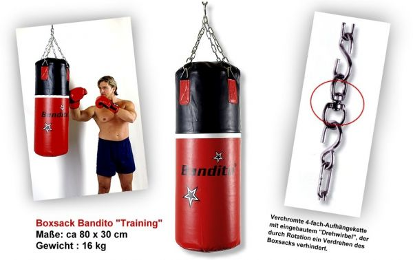 """Boxsack Bandito """"Training"""", hochwertige schwere Kunstlederausführung, ca. 80 x 30 cm, Gewi"""