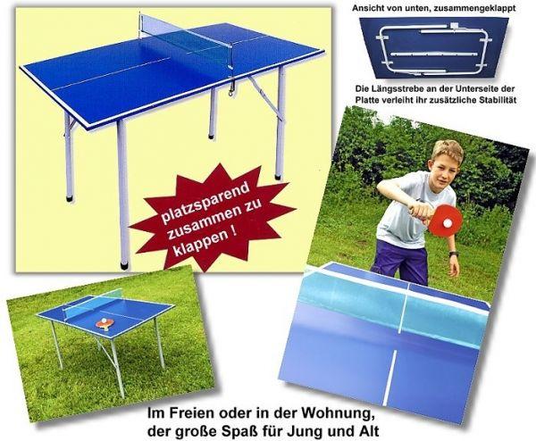 """Tischtennisplatte """"Bandito-Mini"""", sehr platzsparend zusammenklappbar, Größe: 136 x 75 cm"""