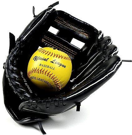 Baseballhandschuh inkl. Softball, schwarzes Kunstleder