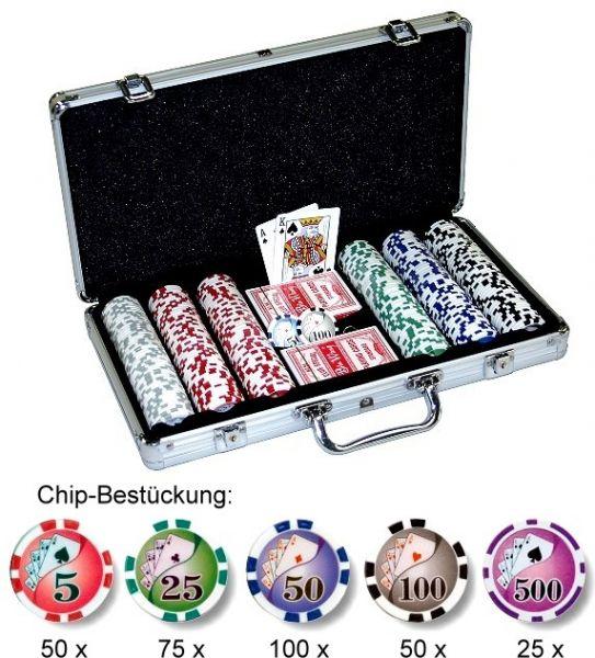 """Poker Chips """"Royal Flush"""" als Set mit 300 Chips"""
