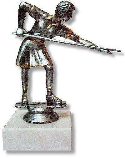 Pokal BILLARDSPIELERIN silberfarben, 16 cm